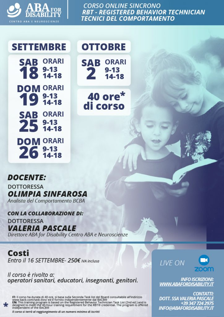 Locandina new RBT - Aba for Disability Centro ABA e Neuroscienze