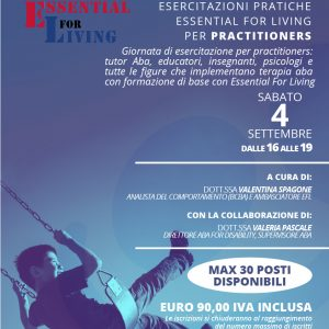 Essential for Living - locandina - Aba for Disability - Esercitazione PRACTITIONERS