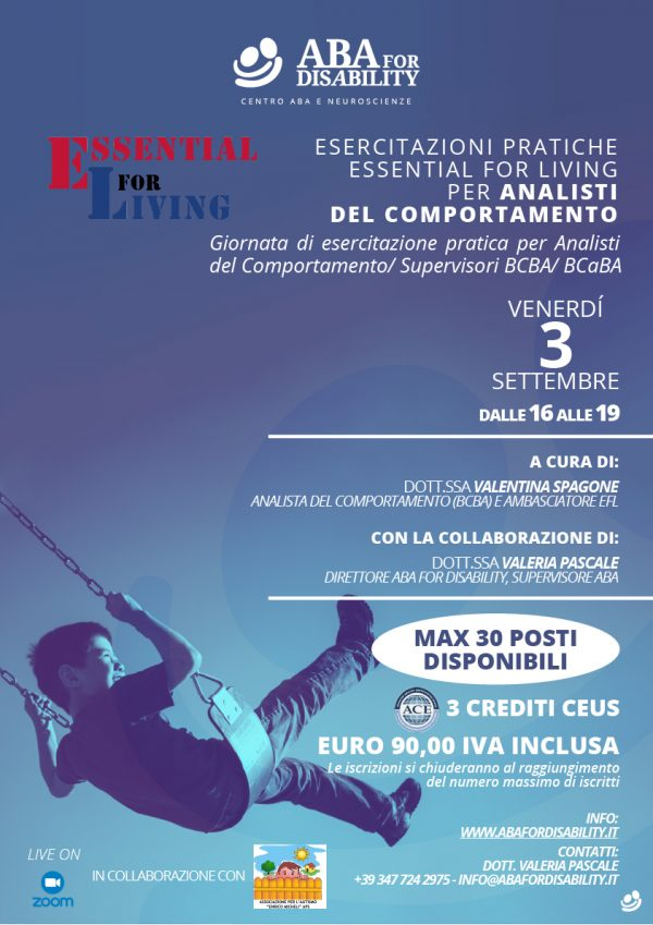 Essential for Living - locandina - Aba for Disability - Esercitazione analisti